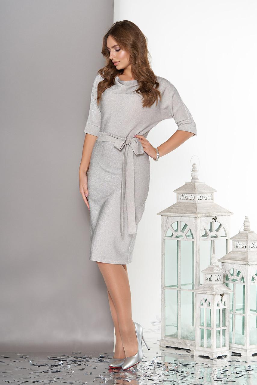 Платье миди из трикотажа с люрексом светло-серое