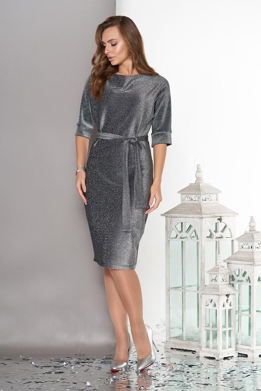 Платье миди трикотажное с люрексом темно-серое