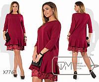 Платье-туника мини из костюмки с разрезными рукавами 3/4, пышной оборкой по низу и нижним прямым, 3 цвета