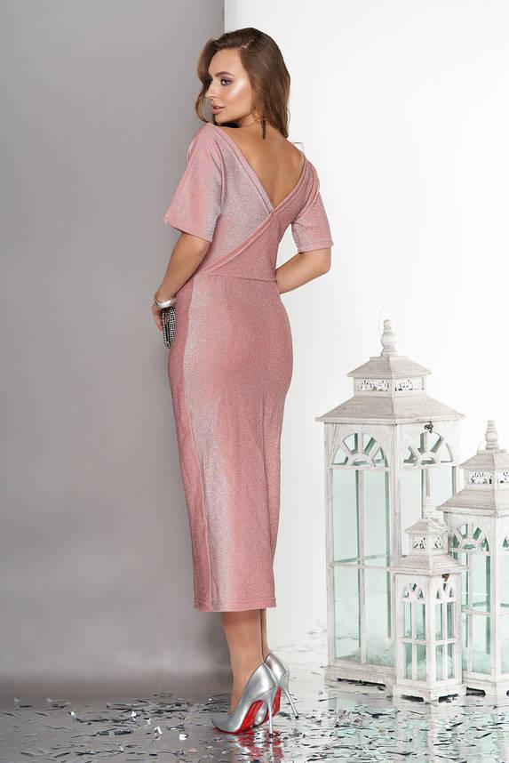 Длинное вечернее платье с люрексом розовое, фото 2