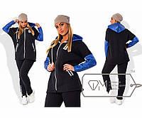 Спорткостюм из трёхнитки - олимпийка с рукавами и капюшоном из стёганой экокожи и прямые штаны X5000