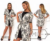 Платье-халат мини из льна с эффектом двойки и однотонным нижним платьем X8803
