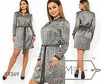 Платья-мини с узорным принтом прямого кроя под поясок, V-образным вырезом на груди и воротником-стойка X9369
