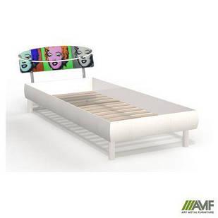 Ліжко (Кровать) Кенді 80х200 біле дерево/принт Монро, ніжки букові циліндр білі AMF