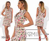 Платье-шифт мини прямого кроя из стрейч коттона с V-образным вырезом и воротником стойка (есть карманы), 2 цве