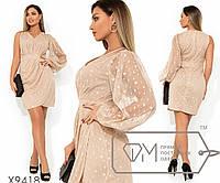 Платье-мини с V-образным вырезом одним рукавом-фонарик втачным поясом и юбкой с имитацией запаха, 3 цвета