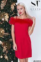 Красное нарядное женское платье декорировано кружевом из фатина . Арт-7580/18, фото 1
