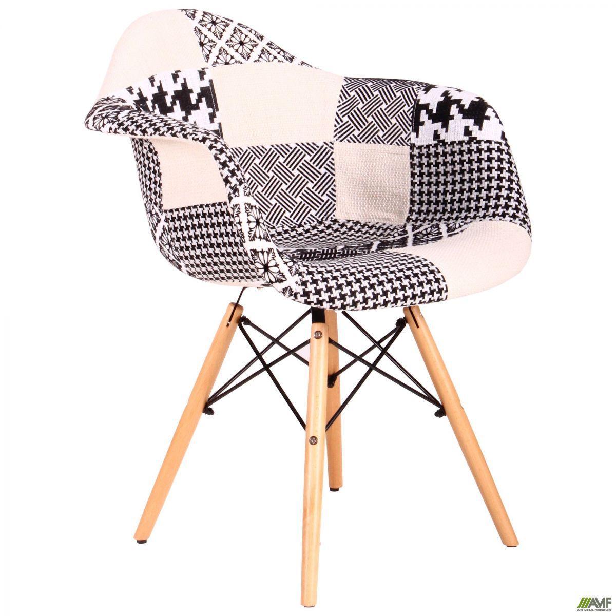 Кресло Salex FB Wood Patchwork черно-белый TM AMF