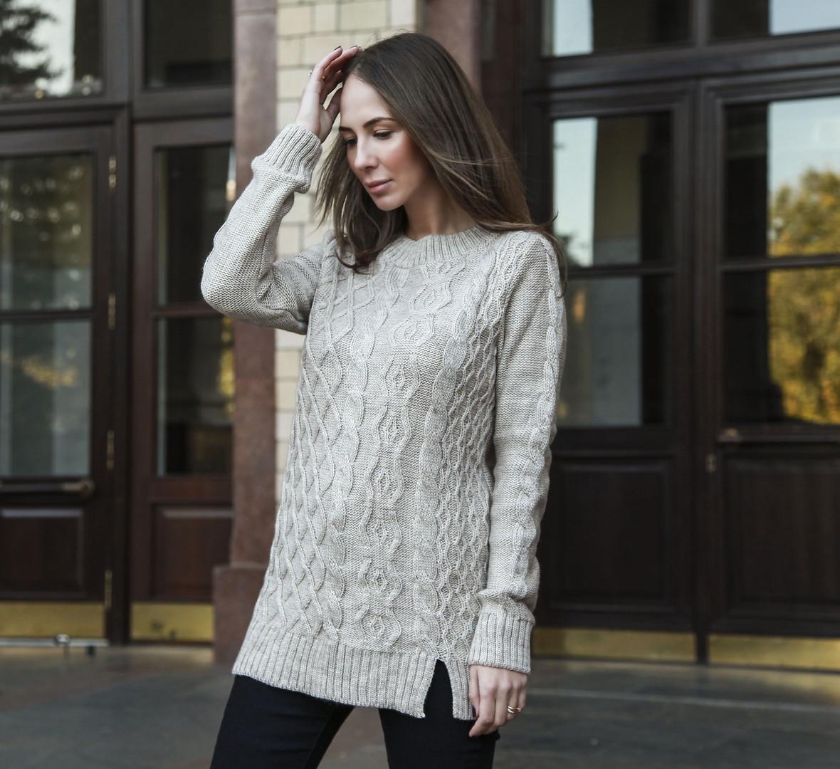 6f33c81b7e6e Теплый женский свитер-туника. Артикул: BB126_beige