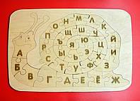 """Деревянный пазл """"Равлик"""" (русский), деревянная абетка, размер 37*25"""