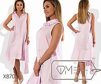 Платье миди из стрейч коттона с V-образным вырезом, воротником стойка бижутерией на уголке, 2 цвета