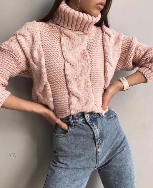 короткий женский вязаный свитер под горло цена 480 грн купить в