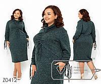Платье-миди из ангоры-софт с воротником-хомут драпировкой из завязок на груди и длинных рукавах Z0412