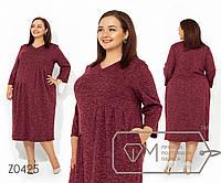 Платье-миди покроя трапеция с V-образным вырезом на груди, карманами и драпировкой на талии и юбке, 1 цвет