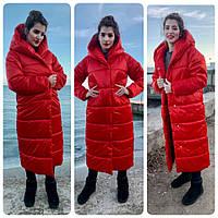 Пальто пуховик одеяло, артикул М521, цвет красный 46-48