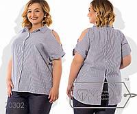 Рубашка прямая из коттона с коротким рукавом вырезом на плечеках, пуговками на лицевой стороне, 2 цвета