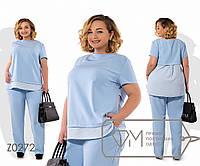 Костюм-двойка из плательного крепа с шифоновой вставкой на блузке коротким рукавом 1/4 и брюками, 1 цвет