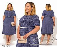 Платье миди покроя-трапеция из летнего джинса с коротким рукавом резинкой на талии, контрастными, 2 цвета