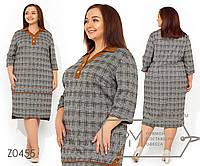 """Платье-миди прямого кроя, цвета """"тартан"""" с контрастным V-образным вырезом и отложным воротником, 1 цвет"""