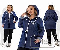 Спорткостюм - джинсовая куртка на молнии с капюшоном, кулиской по талии и контрастной отделкой, 1 цвет