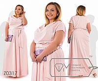 Платье в пол из софта с хомутом, коротким рукавом и резинкой на талии ( ткань просвечивается), 3 цвета
