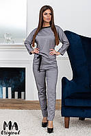 Женский серый брючный костюм