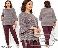 Костюм с блузой из трикотажа петля с рукавами-волан, брюки из ангоры софт зауженные к низу, 3 цвета