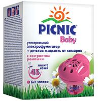 Комплект от комаров: электрофумигатор + жидкость для детей Picnic Baby 45ночей