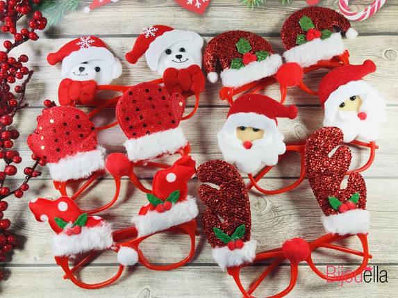 Очки новогодние с мехом, микс для дополнение новогоднего карнавального образа, фото 2
