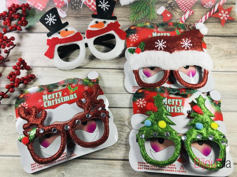 Массивные новогодние очки микс с присыпкой разные формы в ассортименте