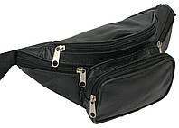 Мужская поясная сумка из кожи, чёрная, kangur duzy 856333