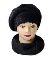 Шарф вязаный женский из ангоры черного цвета, фото 1
