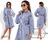 3c827a241ec Платье-рубашка миди прямое из льна с вышивкой под пояс с длинными  рукавами-кимоно