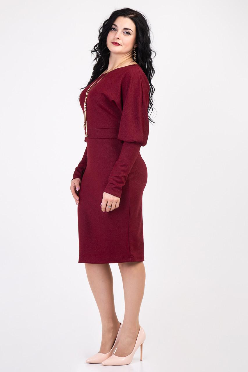 Элегантное платье миди с рукавом летучая мышь 152
