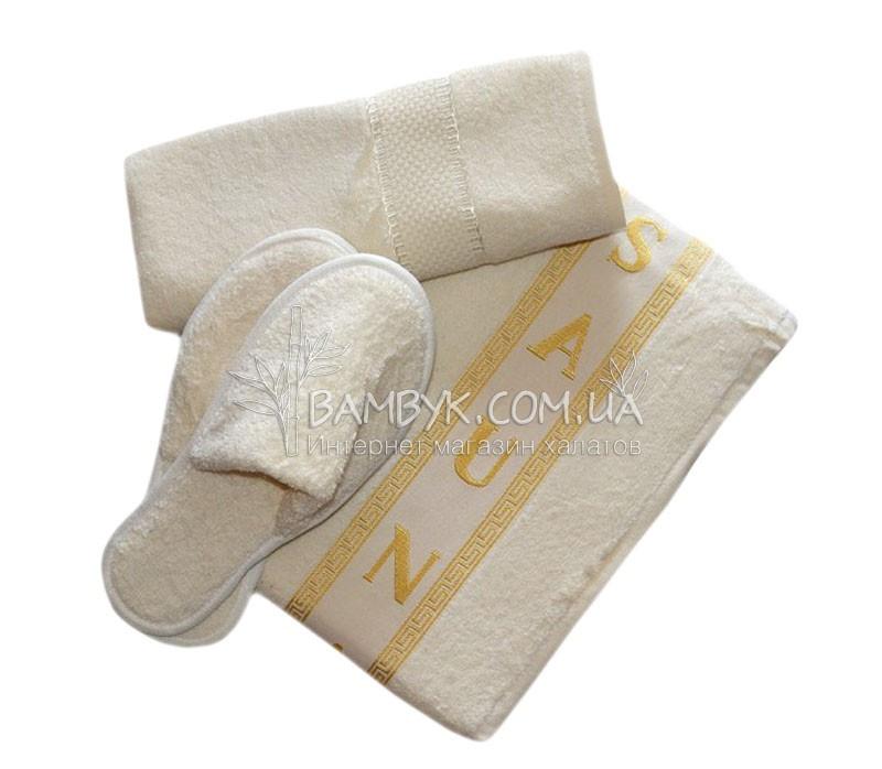 Merzuka набор для сауны мужской (тапочки, полотенце, килт) 3-предмета бежевый