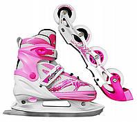 Роликовые коньки SportVida 4 в 1 SV-LG0017 Size 35-38 Pink