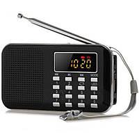 Портативный мини Mp3 плеер L-218-S Black со светодиодный подсветкой, ЖК-дисплей, FM радио, динамик, USB