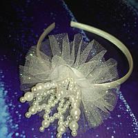 Обруч Жемчужная корона с фатином на подарок девочке