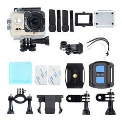 Спортивная камера F60R креплениями, водостойкий кейс и пульт в комплекте , wi-fi, экраном, Action camera экшн
