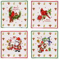 """Набор 4 фарфоровых блюдца """"Merry Christmas"""" для сервировки 10х10см в подарочной коробке"""