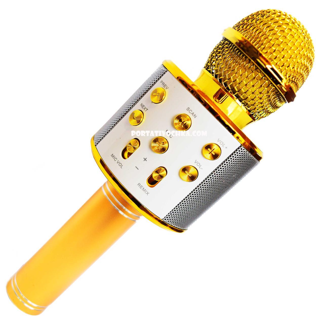 Микрофон Караоке Wester WS-858 беспроводная портативная колонка