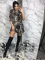 Платье принт лео, юбка складки , фото 1
