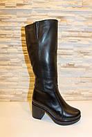 Сапоги женские зимние черные на каблуке натуральная кожа код С760, фото 1