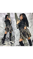 Платье Лео, перед кожа стёжка, юбка складки, фото 1