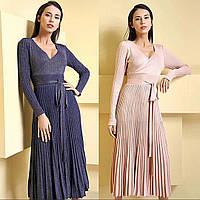 Платье люрекс, юбка складки , ниже колена. Китай, фото 1