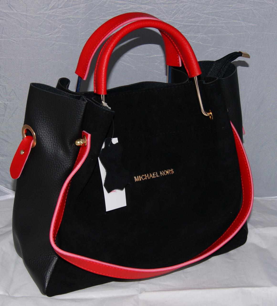 377e50d76c30 Женская черная замшевая сумка-шопер Michael Kors, MK, Майкл Корс с красными  ручками