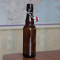 Пляшка скляна з бугельною кришкою 330 мл коричнева 24 шт