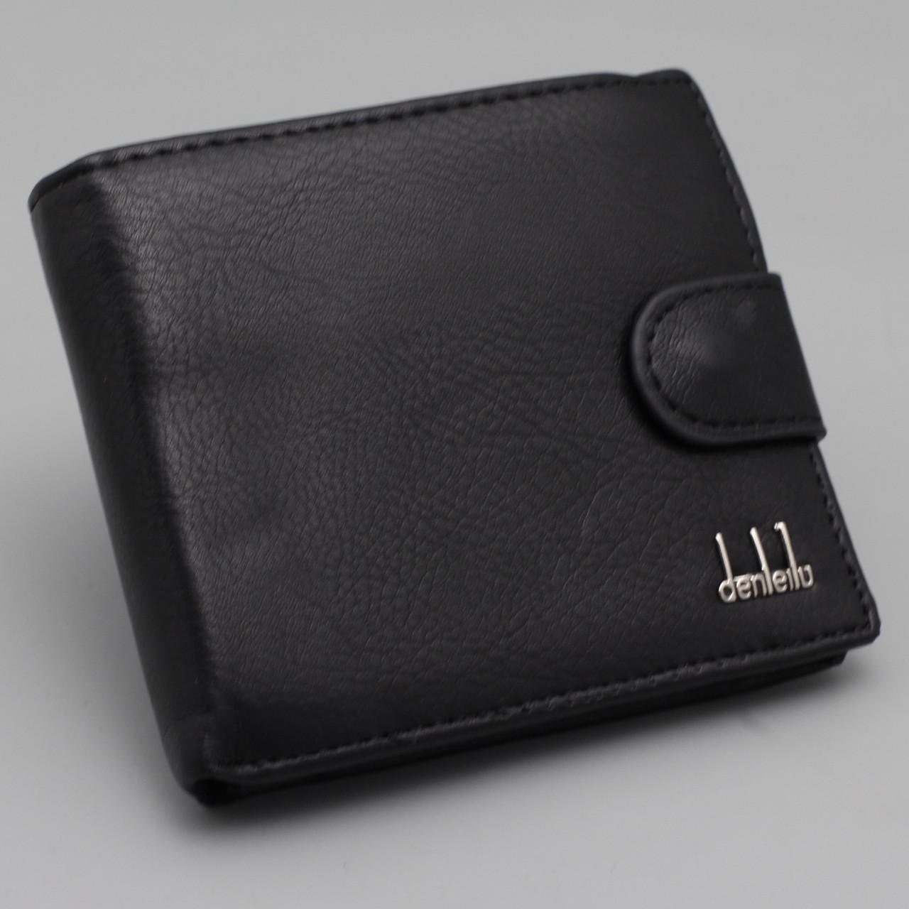 Кошелек мужской черный из экокожи Leather Master