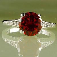Кольцо, серебро, цирконий Гранат, р16