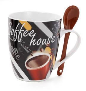 Кружка фарфоровая 350 мл Coffee с коричневой ложкой, 4 вида (334-404), фото 2